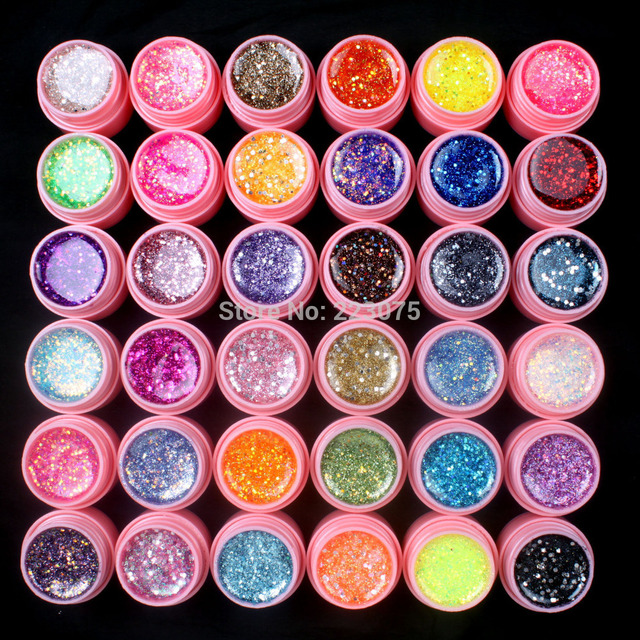 New DIY New 36 Pcs Mix Color Glitter Hexagon Sheet Nail Art UV Builder Gel for Tip Set White pot