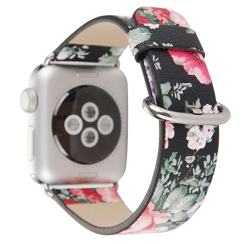 For 38/42mm Apple Watch Band Strap Vintage Floral Prints Flower PU Leather Wristwatch Belt Bracelet Replacement I253. 38 42