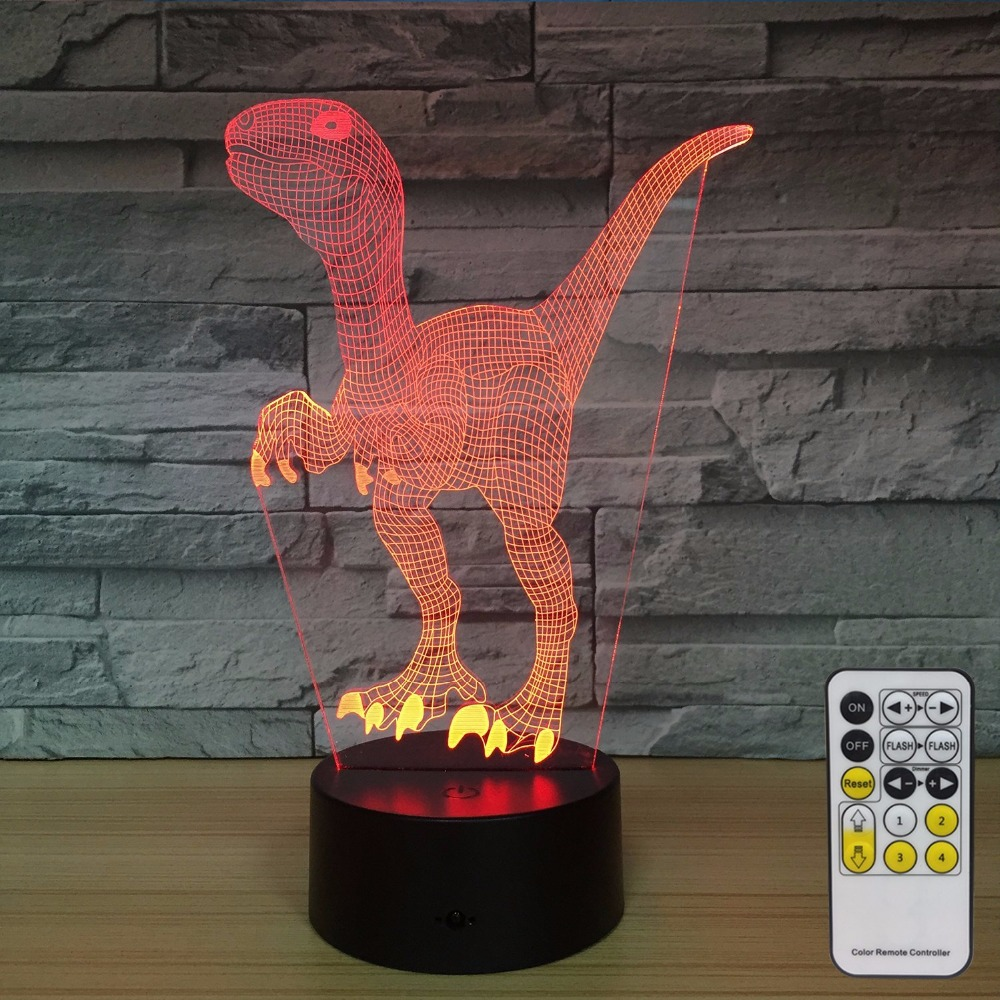 Dinosaur 3D Night Lights for Kids Decorations 7 Colors Change with Remote Baby Night Light Beside Lamp Boys Birthday Party Gift