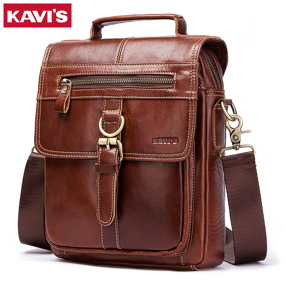KAVIS 100% Genuine Leather Messenger Bags Men High Quality Handbag Bolsas Travel Brand Design Crossbody Shoulder Bag For ClutchKAVIS 100% Genuine Leather Messenger Bags Men High Quality Handbag Bolsas Travel Brand Design Crossbody Shoulder Bag For Clutch