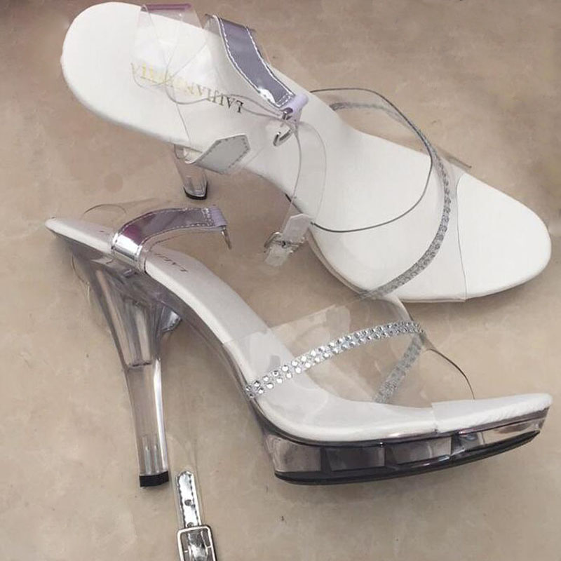 4359abe45bebb7 LAIJIANJINXIA 13 cm Super High Women Sandals Sexy Platforms Shoes 5 Inch  High heeled Shoes Clear Crystal Sandals-in High Heels from Shoes on  Aliexpress.com ...