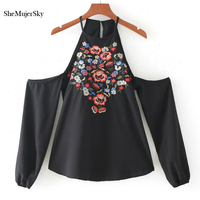 SheMujerSky Womens Embroidery Blouses Strap Cold Shoulder Tops Long Sleeve Blouse Black White Blusas Camisas