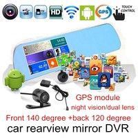5 Inch touch LCD screen Loop Recording Camera Video Recorder Rearview Mirror Car Camera DVR for android with GPS module