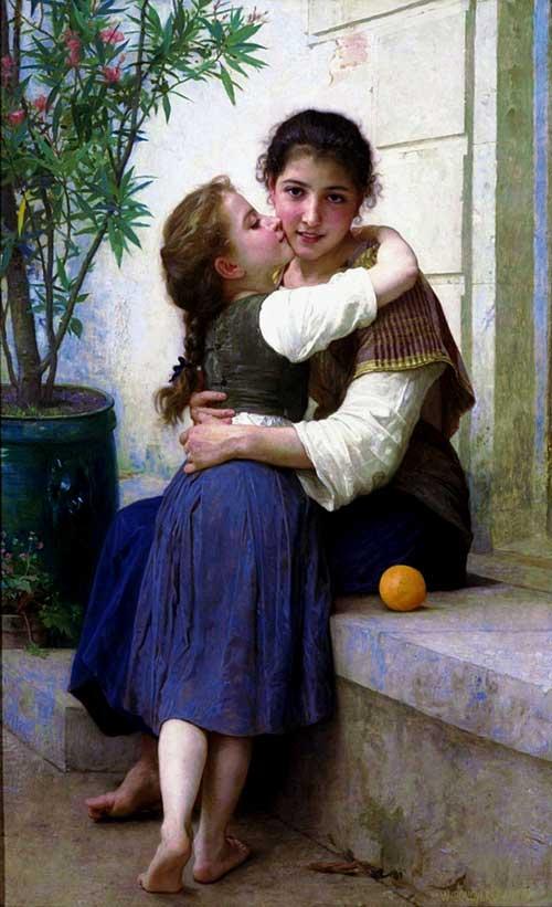 Große größe gobelin Wandteppich bild für möbel, Schöne Landschaft Mädchen Kuss Mom, wandbehang Kunst Bilder