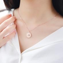 MIARA.L necklace european and American jewelry s925 pure silver creative compass compass personality necklace round aluminum compass silver