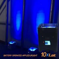 10X Rasha Hex Mini 4*18W 6in1 RGABW UV APP Mobile Battery Powered Wireless LED Uplight Freedoom DJ Light For Event Party Club