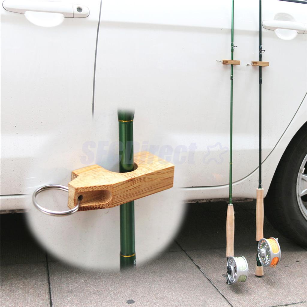 Wooden Fly Fishing Rod Rack Holder Magnetic Rod Guard Hanger Rod Transport System Attaches To Car