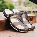 Моды для мужчин Сандалии Летние мужские Тапочки Кожаные Ботинки Пляж Случайные Дышащие Домашние Тапочки Мужчин Обувь Шлепанцы Zapatos