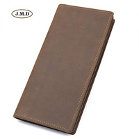 Augus New Arrivals Genuine Leather Fashion Style Long Purse Brown Color 11 Card Slots Zipper Pocket Photo Window R 8163R