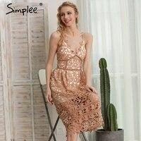 Simplee Padded Hollow Out Lace Dress Lined Summer Dress 2016 Chritsmas Women Dress Shirt Zipper Party