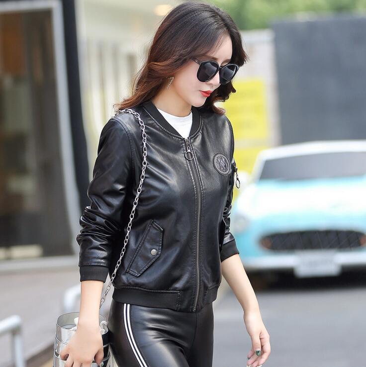 Manteau Mode 5xl Noir Cuir Femmes Et marron Veste Femme De Zipper Col Printemps En M Vestes Montant Marque Moto Automne Survêtement Hot New gqwRZzva
