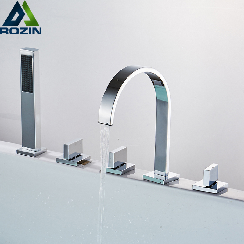 Deck Mounted Widespread Bathtub Faucet 3 Handles Bath Shower Mixers with Pull Out Handshower Chrome and