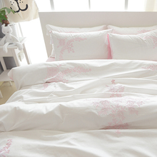 Embroidery bedding set pillowcase sheet twin queen king size 100% cotton suitable for adults/kids solid white classical