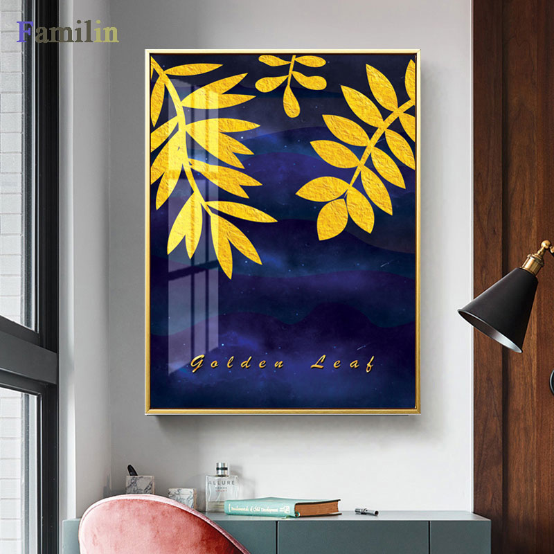 HTB1NNJpRSzqK1RjSZFLq6An2XXaF Green And Gold Pineapple Monstera Plant Painting Large Leaf Poster Print Wall Art For Living Room Aisle Unique Modern Decoration