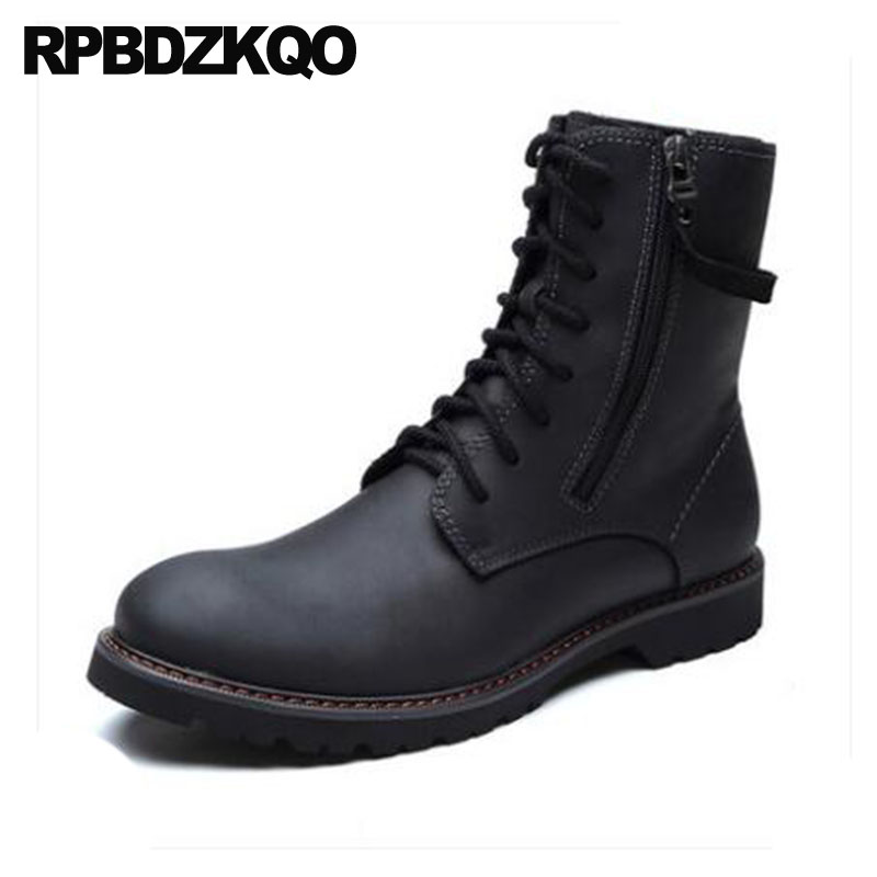 High Quality Winter Men Boots With Fur Military Lace Up Plus Size Zipper Army Black Shoes Full Grain Leather Ankle Combat Snow high quality full grain leather and pu mixed colors boots size 40 41 42 43 44 zipper design lace up decoration round toe boots