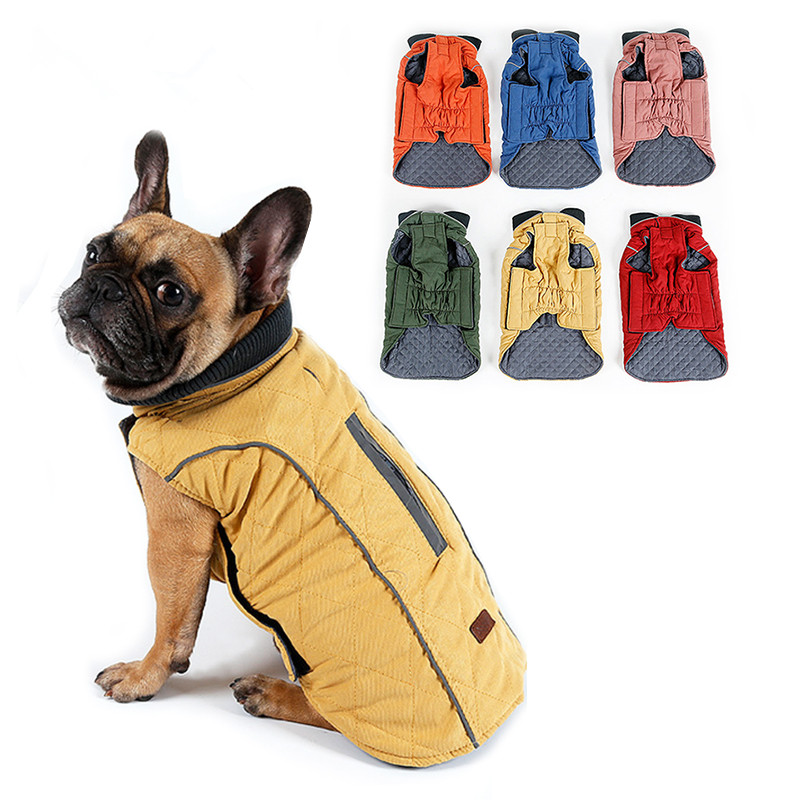 Շորերի բարձրորակ հագուստ Quilted Dog Coat Water repellent Winter Winter Dog Jacket Vest Retro Retro Cozy Warm Pet Outfit Հագուստ մեծ շներ