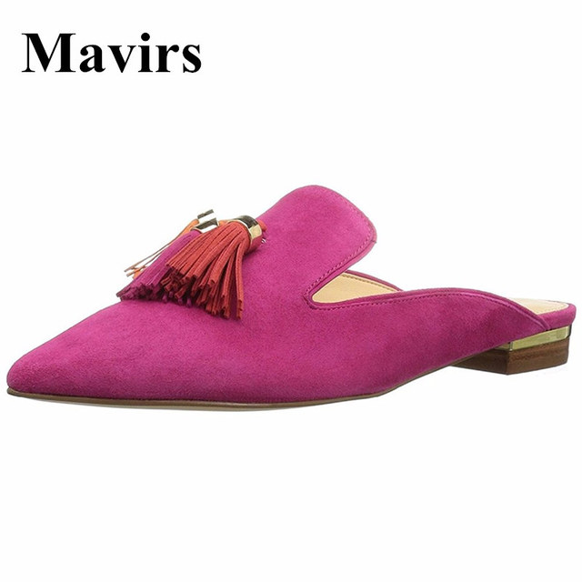 26727f07663 MAVIRS Brand Mules Women Slippers 2018 Fashion Fringe Flats Pink Casual  Shoes Velvet Backless Slip On Loafers Flat Size US 5 -15