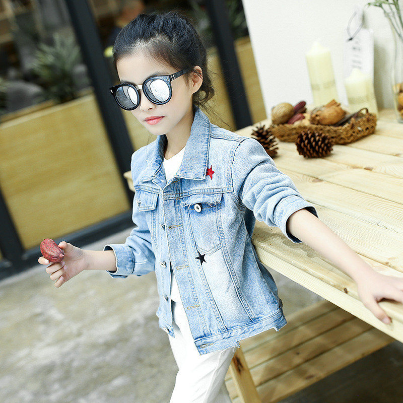 ФОТО new kids girl denim jackets 2017 spring autumn long sleeve pockets blue jeans teenager jackets girls clothing children outwears
