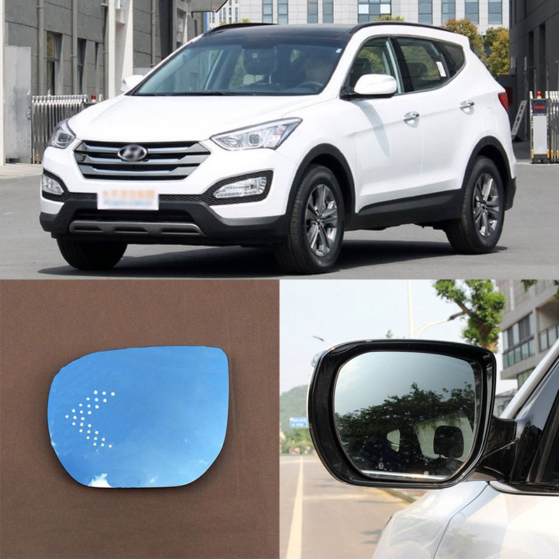 For Hyundai New Santa Fe Brand New Car Rearview Mirror Blue Glasses LED Turning Signal Light with Heating for volkswagen sagitar brand new car rearview mirror blue glasses led turning signal light with heating