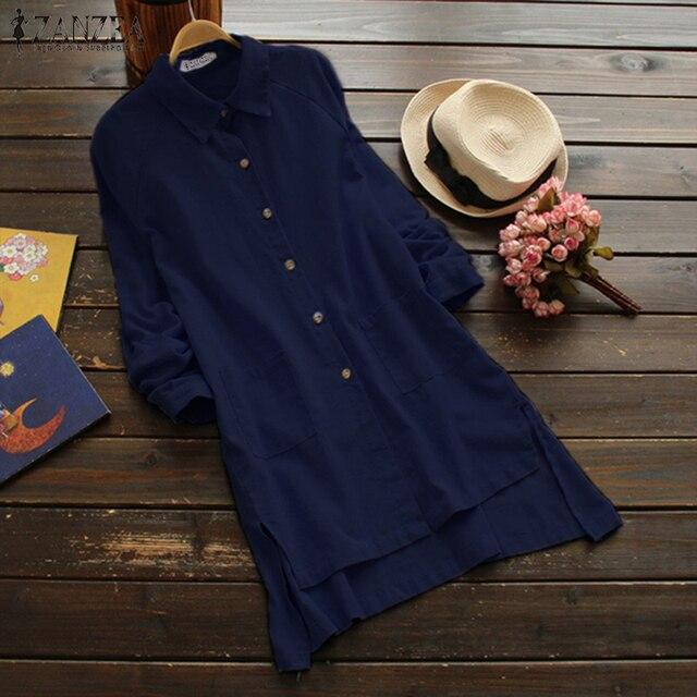 ea0a64127ea0b 2018 ZANZEA Plus Size Women Cotton Blouse Long Sleeve Shirt Button Down  Shirts Asymmetric Hem Tunic Top Casual Blusa Femininas