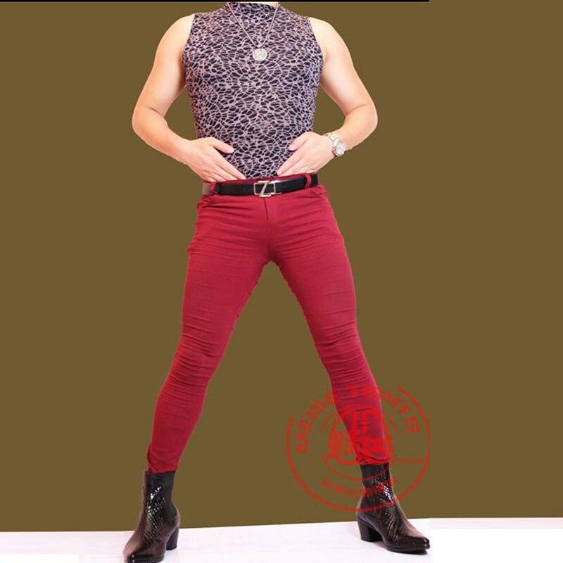 Stylish Metrosexual Sexy Men's Tight   Jeans   Leg Legs Hair Stylist Low Waist Thickness Ordinary Slim Pencil Pants Fad Boots Pants