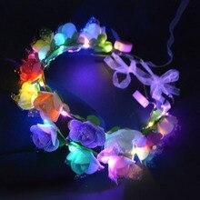 1 шт Вечерние светящиеся венки Хэллоуин корона цветок ободок Девушки Женщины светодиодный светильник волос Венок лента для волос гирлянды подарок фестиваль