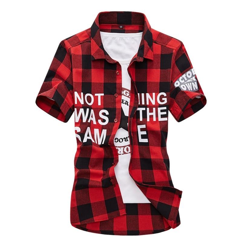 Мужская рубашка в клетку 2019 Лето - Мужская одежда