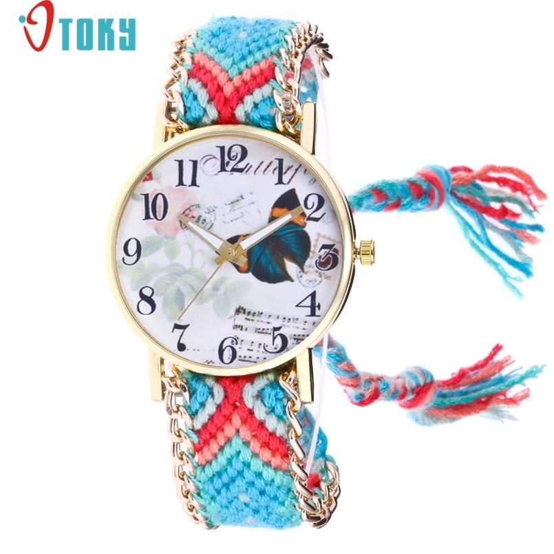 OTOKY Handmade Braided Butterfly Bracelet Watch Ladies Rope Watch Quarzt Watches Relogio Feminino 1Pc Dropship #J01