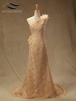 Solovedress Real Photos Floor Length Flowers Lace A Line Evening Dress Pleat Evening Gown Elegant Vestidos