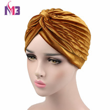 New Fashion Women Velvet Turban Twist Stretch Neon For Hijab Turbante Headband
