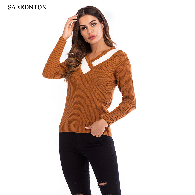 2018 New V Neck Collar Cross Knitted Winter Sweater Women
