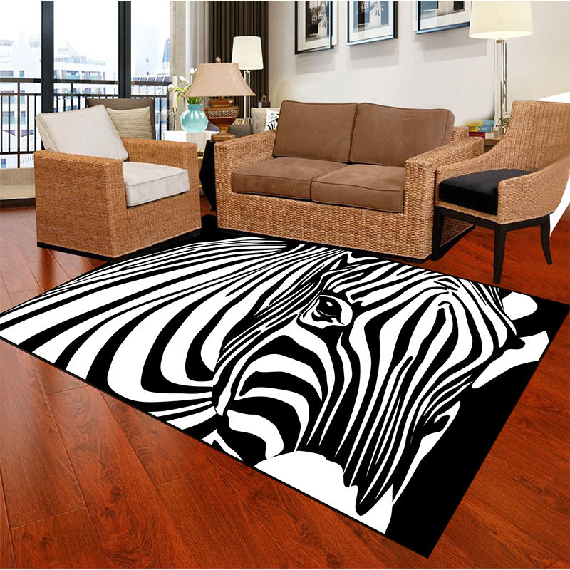 Large Size Zebra Striped Print Carpets For Living Room Bedroom Area Rugs Home Decor Soft Carpet Coffee Table Antiskid Floor Mats image