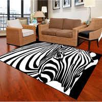 Grande taille zèbre rayé impression tapis pour salon chambre petits tapis décor à la maison tapis doux Table basse antidérapant tapis de sol