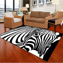 цены Large Size Zebra Striped Print Carpets For Living Room Bedroom Area Rugs Home Decor Soft Carpet Coffee Table Antiskid Floor Mats