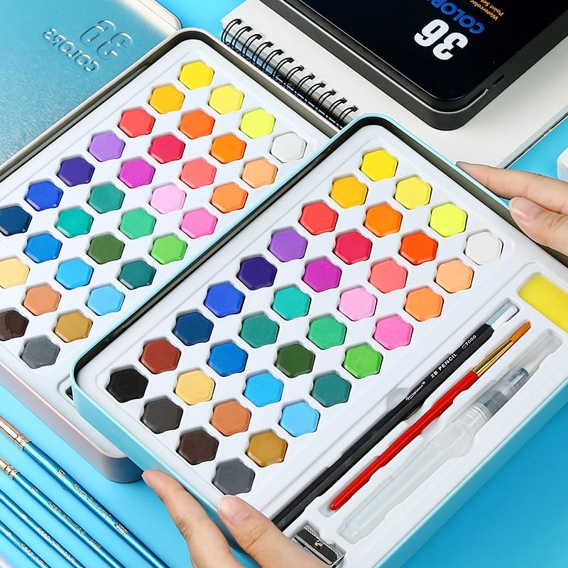 Conjunto de herramientas de pintura de acuarela sólida BGLN diseño de estudiante de 36 colores pintado a mano Papel de acuarela profesional de algodón, 20 hojas, cuaderno de acuarela pintado a mano para artistas, materiales para dibujo y Bellas Artes