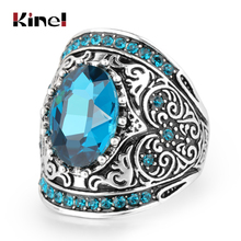 Kinel Hot Luxury Bohemia Blue Glass Rings For Womne Antique Pattern Silver Color Vintage Jewelry Drop Shipping 2019 New