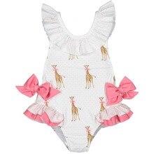 Розничная ; Новинка года; летний купальный костюм с шапочкой для девочек; милый детский купальный костюм с рисунком жирафа и бантом; От 2 до 7 лет; E6018