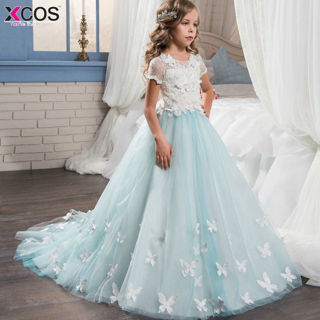 68da2175b11 Baby Blue Romantic Lace Puffy Lace Flower Girl Dress 2018 for Weddings Tulle  Ball Gown Girl Party Communion Dress Pageant Gown