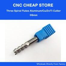 """3 יחידות 6*6*15 מ""""מ קרביד CNC HRC55 שלוש חליל ספירלת Bit סוף מיל כלים אלומיניום חיתוך ביטים, CNC נתב כלי חריטת כלי"""