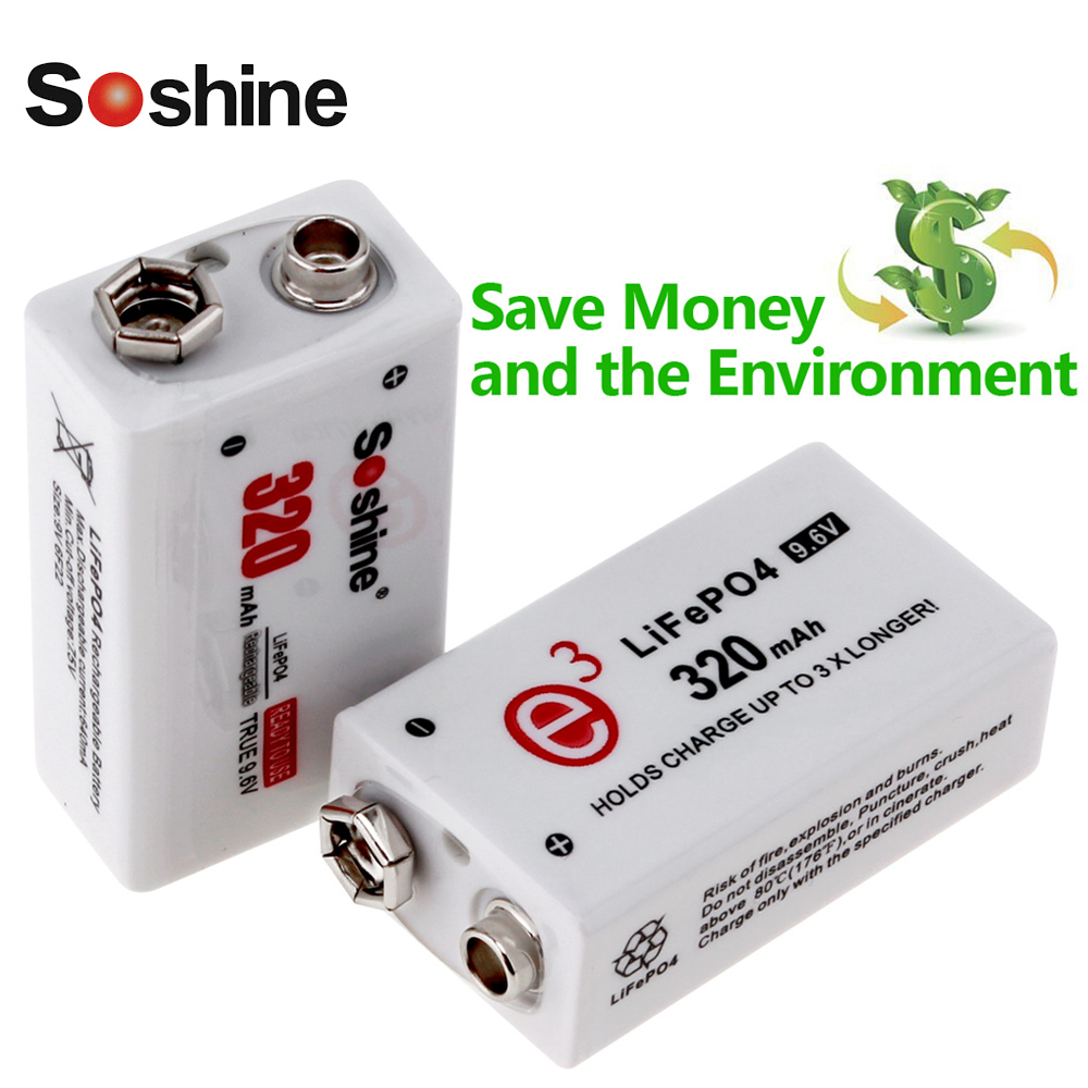 все цены на 2pcs! Soshine 9V 6F22 Rechargeable Battery 320mAh 9V LiFePO4 Battery + Portable Battery Stroage Box Case онлайн