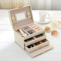 3 Layer Advanced Leather PU Jewelry Box Ring Bracelet Storage Box Metal Stents Collection Box With