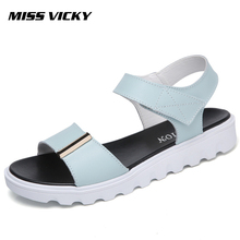 MISS VICKY 2019Summer New Womens Sandals Leather Flat Bottom  Hook & Loop Casual