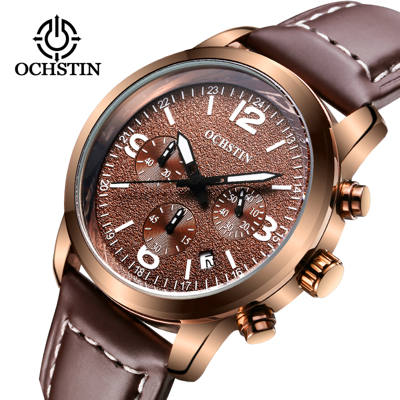 2017 Ochstin Chronograph Casual Watch Men Luxury Brand Quartz Military Sport Genuine Leather Men s Wristwatch