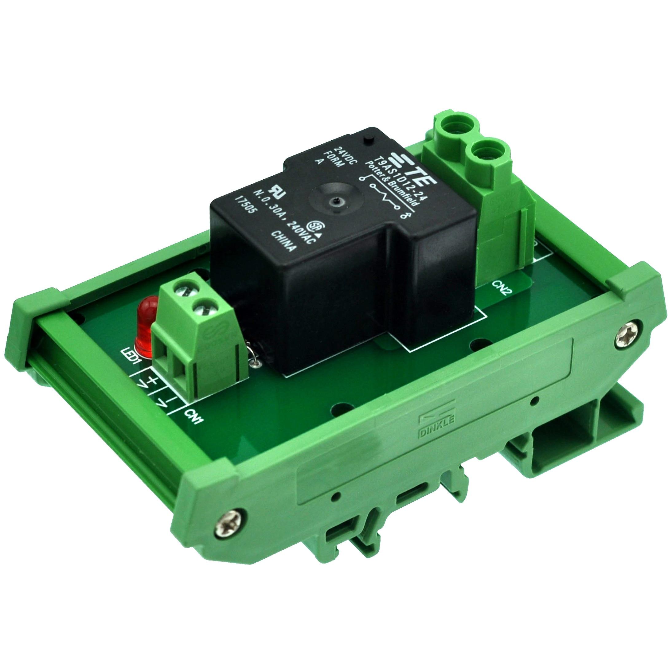 CZH-Labs DIN Rail Mount 24V Passive SPST-NO 30Amp Power Relay Module.