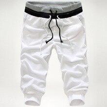 2017 the brand new summer season males's informal pants youth seven pants knit cotton elastic waist black purple white gray Ok304