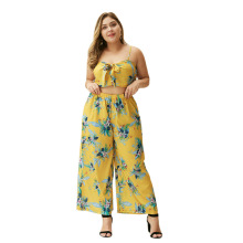 WHZHM Summer Plus Size 3XL 4XL Bow Sexy Sets Women Two Pcs Beach Backless Strap Flower Crop Tops and Loose Pants Ladies Sets