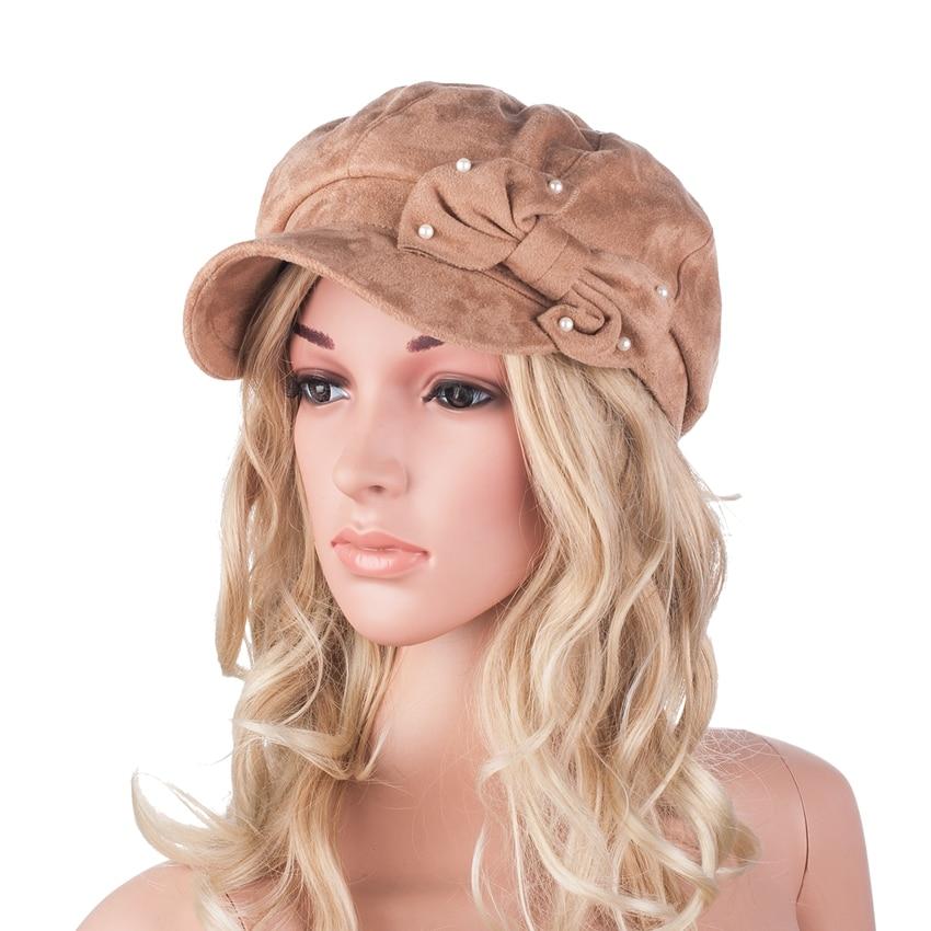 Women Beret Hats Cap New Arrivals Girl's hip hop Cap Ladies Micro Suede Flat Visor Cap Fashion Top Hat Bow A300 women artist beret cap french style autumn