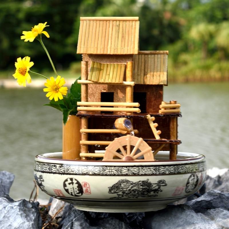 110/220 V naturel Banboo Feng Shui Figurines fontaine d'eau Miniature décor à la maison bureau décoration artisanat cadeau de mariage humidificateur