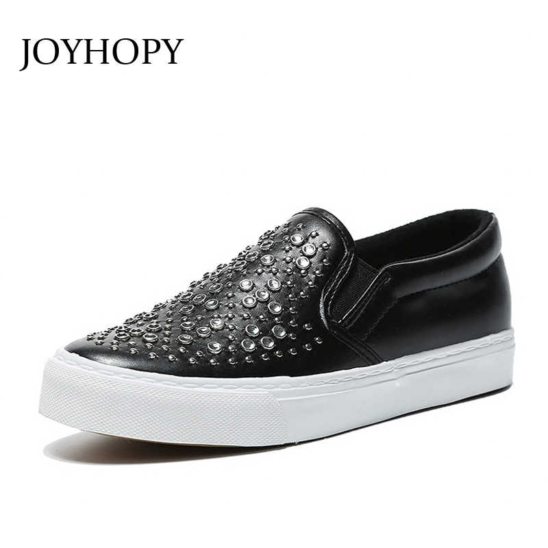 786018be5a2 JOYHOPY High Quality Punk Women Flats Loafers Rivet PU Leather Shoes Woman  Casual Slip On Shoes