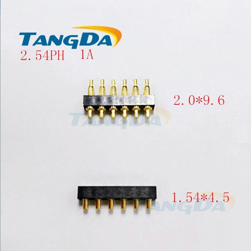 цена на Tangda pogo pin connector 2*9.6 mm Current pin Battery pin Test thimble probe spacing:2.54 1A 90gf 1uGOLD 6pin 6p